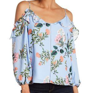 Parker Blue Floral Ruffle Cold Shoulder Blouse M